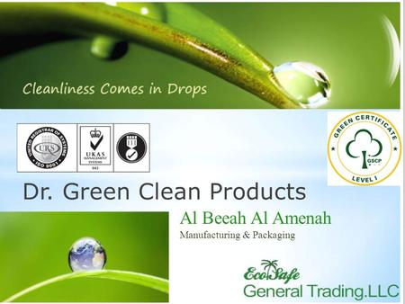 Dr. Green Clean Products Al Beeah Al Amenah Manufacturing & Packaging.