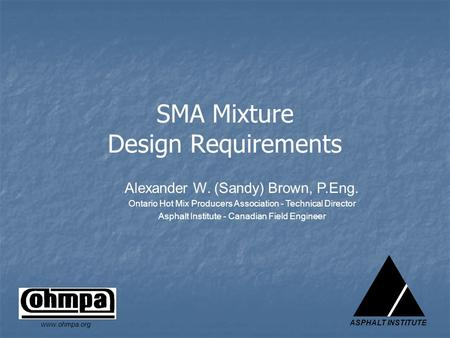 SMA Mixture Design Requirements