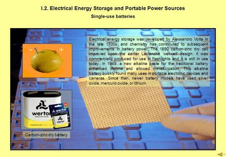 I.2. Electrical Energy Storage and Portable Power Sources Single-use batteries Electrical energy storage was developed by Alessandro Volta in the late.