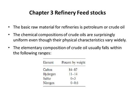 Chapter 3 Refinery Feed stocks