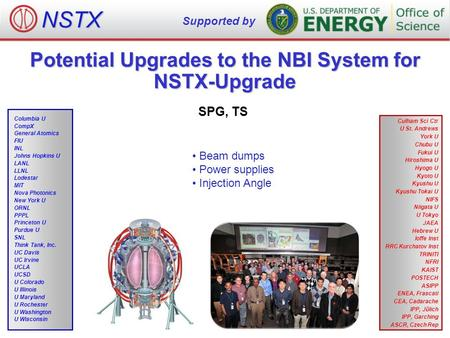 Potential Upgrades to the NBI System for NSTX-Upgrade SPG, TS NSTX Supported by Culham Sci Ctr U St. Andrews York U Chubu U Fukui U Hiroshima U Hyogo U.