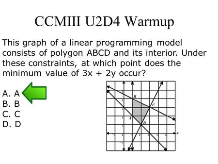 CCMIII U2D4 Warmup This graph of a linear programming model consists of polygon ABCD and its interior. Under these constraints, at which point does the.