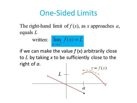 The right-hand limit of f (x), as x approaches a, equals L written: if we can make the value f (x) arbitrarily close to L by taking x to be sufficiently.
