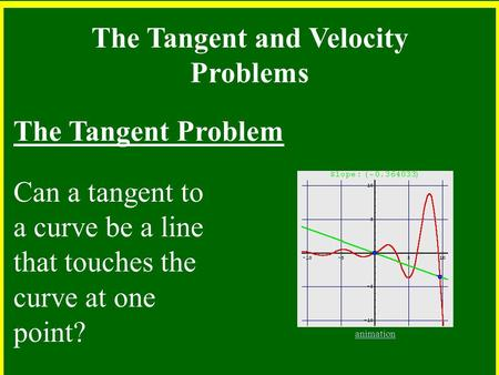 The Tangent and Velocity Problems The Tangent Problem Can a tangent to a curve be a line that touches the curve at one point? animation.