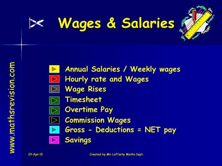 29-Apr-15Created by Mr. Lafferty Maths Dept. Wages & Salaries www.mathsrevision.com Annual Salaries / Weekly wages Hourly rate and Wages Wage Rises Commission.