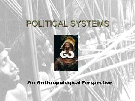 POLITICAL SYSTEMS An Anthropological Perspective.