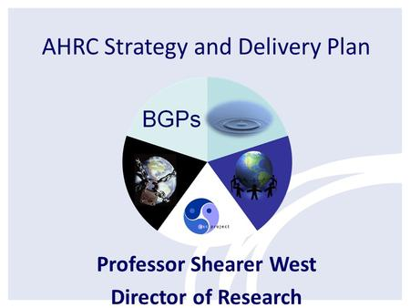 AHRC Strategy and Delivery Plan Professor Shearer West Director of Research.