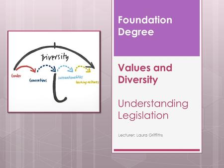 Foundation Degree Values and Diversity Understanding Legislation