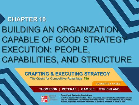 CHAPTER 10 BUILDING AN ORGANIZATION CAPABLE OF GOOD STRATEGY EXECUTION: PEOPLE, CAPABILITIES, AND STRUCTURE.