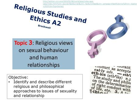 C Religious Studies and Ethics A2 Brockwell Topic 3 : Religious views on sexual behaviour and human relationships Objective: Identify and describe different.