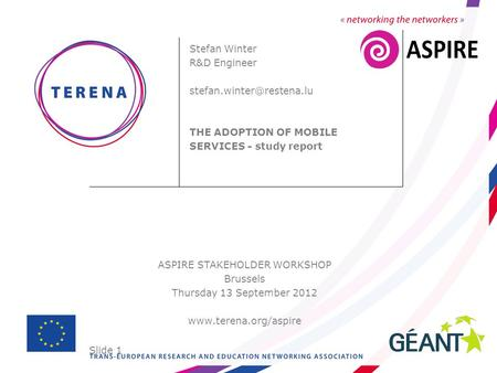 Slide 1 ASPIRE STAKEHOLDER WORKSHOP Brussels Thursday 13 September 2012  Stefan Winter R&D Engineer THE ADOPTION.