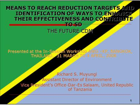 1 MEANS TO REACH REDUCTION TARGETS AND IDENTIFICATION OF WAYS TO ENHANCE THEIR EFFECTIVENESS AND CONTRIBUTE TO SD THE FUTURE CDM Presented at the In-Session.