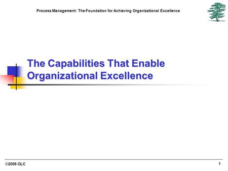 ©2006 OLC 1 Process Management: The Foundation for Achieving Organizational Excellence The Capabilities That Enable Organizational Excellence.