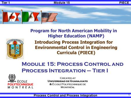 Module 15: Process Control and Process Integration – Tier I