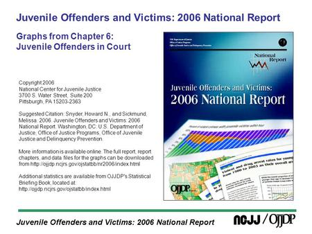 Juvenile Offenders and Victims: 2006 National Report Juvenile Offenders and Victims: 2006 National Report Graphs from Chapter 6: Juvenile Offenders in.
