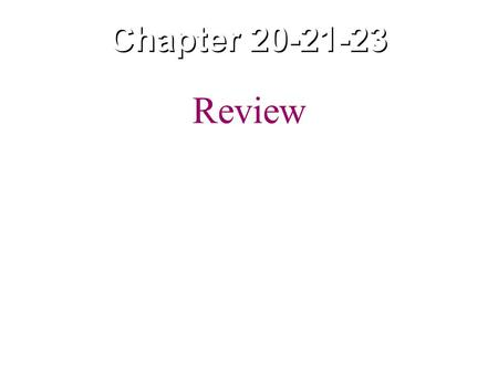 Chapter 20-21-23 Review.