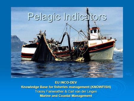 Pelagic Indicators EU INCO-DEV Knowledge Base for fisheries management (KNOWFISH) Tracey Fairweather & Carl van der Lingen Marine and Coastal Management.