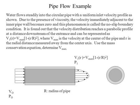 Pipe Flow Example Water flows steadily into the circular pipe with a uniform inlet velocity profile as shown. Due to the presence of viscosity, the velocity.