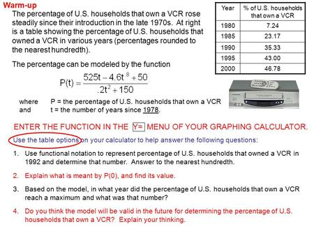 The percentage of U.S. households that own a VCR rose steadily since their introduction in the late 1970s. At right is a table showing the percentage of.
