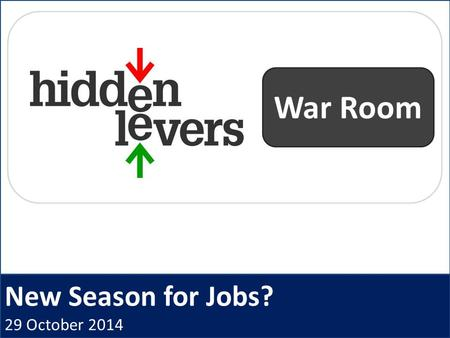 New Season for Jobs? 29 October 2014 War Room. HiddenLevers War Room Open Q + A Macro Coaching Archived webinars CE Credit Idea Generation Presentation.