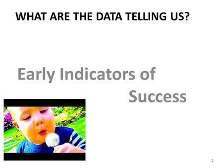 Early Indicators of Success WHAT ARE THE DATA TELLING US? 1.