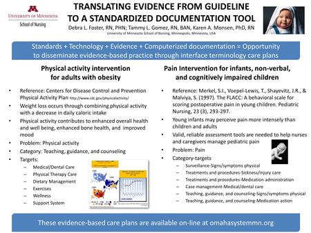 TRANSLATING EVIDENCE FROM GUIDELINE TO A STANDARDIZED DOCUMENTATION TOOL Debra L. Foster, RN, PHN; Tammy L. Gomez, RN, BAN, Karen A. Monsen, PhD, RN University.