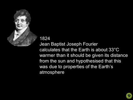 1824 Jean Baptist Joseph Fourier calculates that the Earth is about 33°C warmer than it should be given its distance from the sun and hypothesised that.