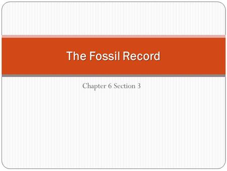 Chapter 6 Section 3 The Fossil Record. Fossils The preserved remains or traces of organisms that lived in the past.