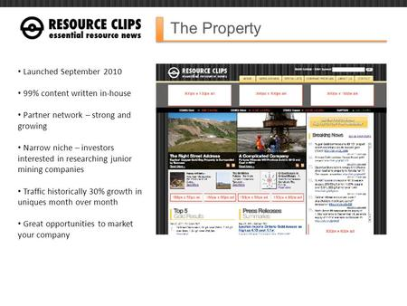 The Property Launched September 2010 99% content written in-house Partner network – strong and growing Narrow niche – investors interested in researching.