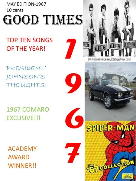 Good Times TOP TEN SONGS OF THE YEAR! PRESIDENT' JOHNSON'S THOUGHTS! 1967 COMARO EXCUSIVE!!! 19671967 MAY EDITION-1967 10 cents ACADEMY AWARD WINNER!!
