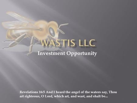 Investment Opportunity Revelations 16:5 And I heard the angel of the waters say, Thou art righteous, O Lord, which art, and wast, and shalt be...