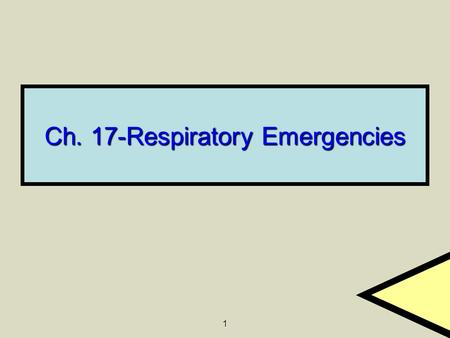 Ch. 17-Respiratory Emergencies
