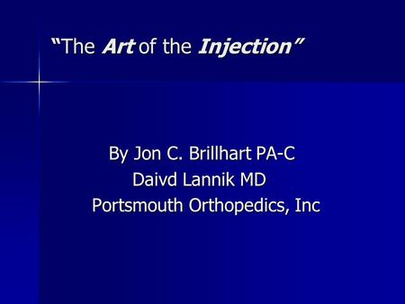 """The Art of the Injection"""