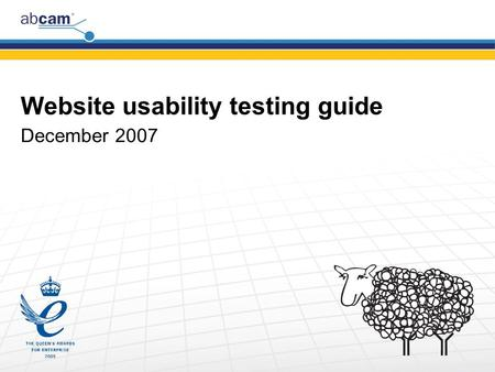 Website usability testing guide December 2007. Copyright © 2006 Abcam plc. www.abcam.com Aims Find problem areas on the website Find things that work.