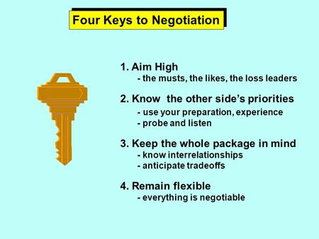 Four Keys to Negotiation 1. Aim High - the musts, the likes, the loss leaders 2. Know the other side's priorities - use your preparation, experience -