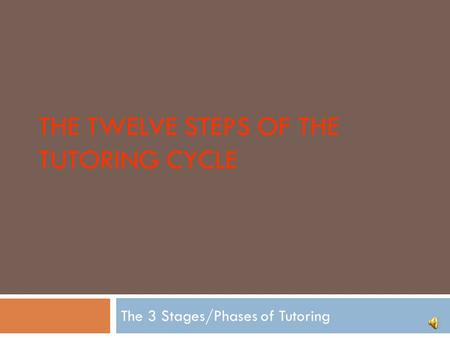THE TWELVE STEPS OF THE TUTORING CYCLE The 3 Stages/Phases of Tutoring.