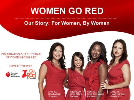 WOMEN GO RED Our Story: For Women, By Women Amy, 42, Heart Attack Survivor Rachel, 29, Heart Attack Survivor Rekisha, 34, Heart Transplant Recipient Lidia,