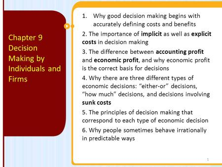Decision Making by Individuals and Firms
