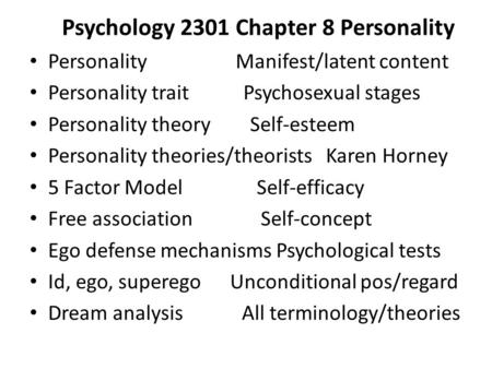 Psychology 2301 Chapter 8 Personality
