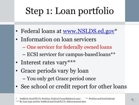 Step 1: Loan portfolio Federal loans at www.NSLDS.ed.gov*www.NSLDS.ed.gov Information on loan servicers – One servicer for federally owned loans – ECSI.