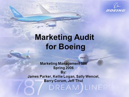 Marketing Audit for Boeing Marketing Management 586 Spring 2006 By: James Parker, Kellie Logan, Sally Wencel, Barry Corum, Jeff Thul.