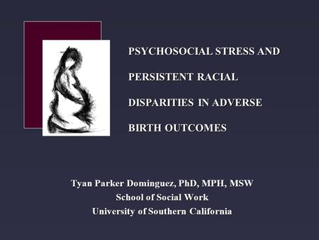 Tyan Parker Dominguez, PhD, MPH, MSW School of Social Work University of Southern California PSYCHOSOCIAL STRESS AND PERSISTENT RACIAL DISPARITIES IN ADVERSE.