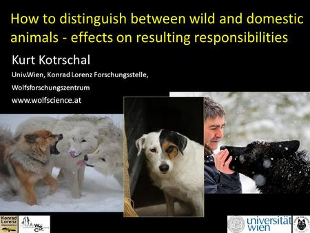 How to distinguish between wild and domestic animals - effects on resulting responsibilities Kurt Kotrschal Univ.Wien, Konrad Lorenz Forschungsstelle,