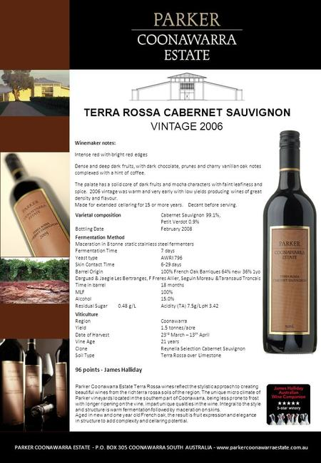 Parker Coonawarra Estate Terra Rossa wines reflect the stylistic approach to creating beautiful wines from the rich terra rossa soils of the region. The.