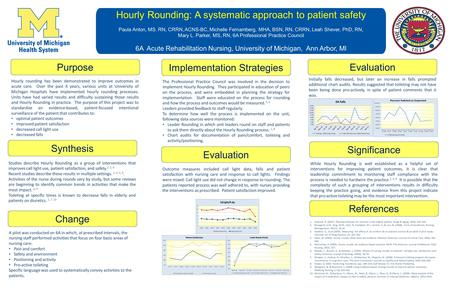 Hourly Rounding: A systematic approach to patient safety Paula Anton, MS. RN, CRRN, ACNS-BC, Michelle Fernamberg, MHA, BSN, RN, CRRN, Leah Shever, PhD,