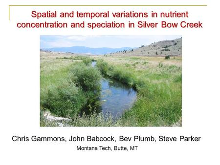 Chris Gammons, John Babcock, Bev Plumb, Steve Parker Montana Tech, Butte, MT Spatial and temporal variations in nutrient concentration and speciation in.