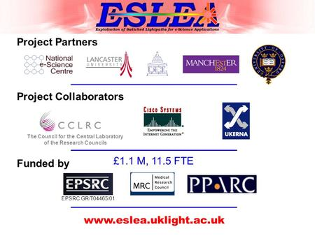 Project Partners Project Collaborators The Council for the Central Laboratory of the Research Councils Funded by EPSRC GR/T04465/01 www.eslea.uklight.ac.uk.