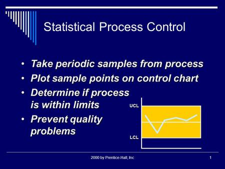2000 by Prentice-Hall, Inc1 Statistical Process Control Take periodic samples from processTake periodic samples from process Plot sample points on control.