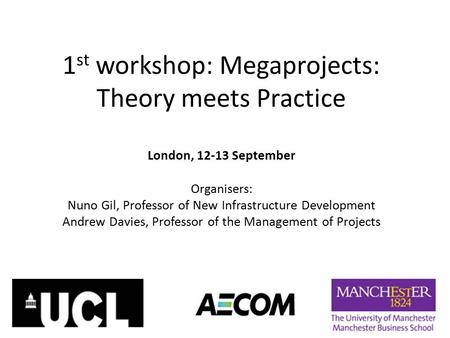 1st workshop: Megaprojects: Theory meets Practice
