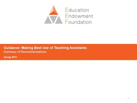 1 Guidance: Making Best Use of Teaching Assistants Summary of Recommendations Spring 2015.